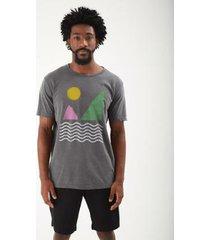t-shirt zinzane paisagem geometrica stone masculina - masculino