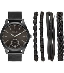 folio men's black stainless steel mesh bracelet watch 47mm gift set