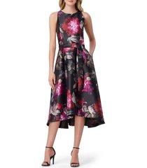 women's tahari mikado floral fit & flare midi dress