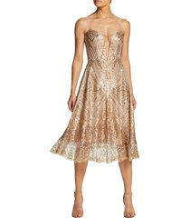 dress the population leona art deco sequin fit & flare dress, size medium in gold/brass at nordstrom