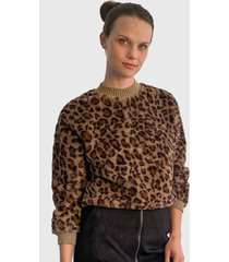 sweater nrg animal print marrón - calce regular