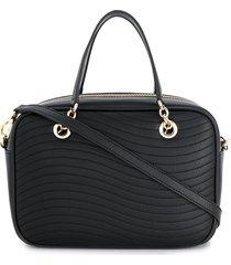 furla swing quilted satchel bag - black