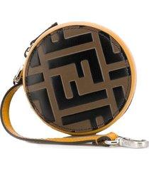 fendi round logo-print purse - yellow