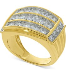 mens diamond three-row ring (3 ct. t.w.) in 10k gold
