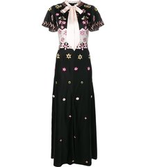 temperley london shawl floral evening gown - black