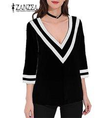 zanzea mujeres suéter casual 3/4 top de manga tee camiseta cuello en v tamaño de la blusa basic plus -negro
