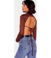 womens out in the open back tie crop top - chocolate