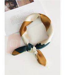 bufanda con estampado geométrico de seda cuadrada múltiple