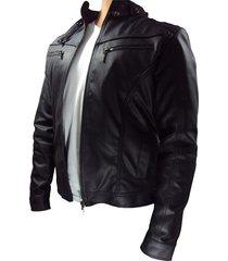 chaqueta cuerotex tipo slim casual color negro