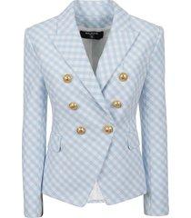 balmain 6 btn gingham jacket