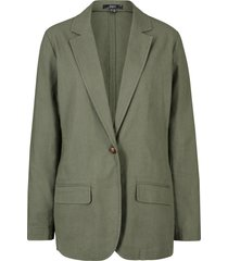 blazer in misto lino loose fit (verde) - bpc bonprix collection