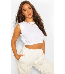 elastische korte top met schoudervulling, wit