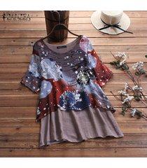 zanzea más mujeres del tamaño de la impresión floral de cuello redondo de tapas de la camisa de gran tamaño de la blusa del puente tee -púrpura