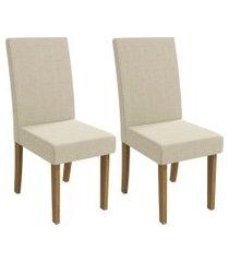 conjunto 2 cadeiras kappesberg 2cad131fr-a019 estofada linho freijó/bege
