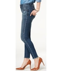 inc studded frayed-hem skinny jeans, created for macy's