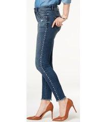 inc studded frayed-hem skinny jeans, created for macy's