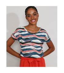 camiseta feminina estampada manga curta ondulada decote redondo azul marinho