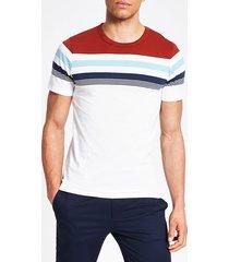 mens jack and jones white block stripe t-shirt