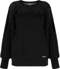 red valentino lace panel cotton sweatshirt - black