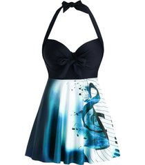 plus size musical notes halter knot backless tankini swimwear