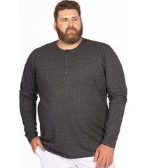 camiseta longford henley manga longa plus size preto - preto - masculino - dafiti