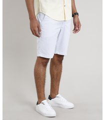bermuda de sarja masculina listrada branca