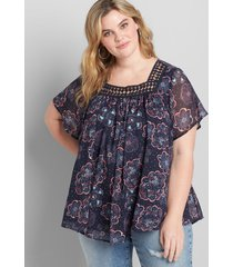 lane bryant women's chiffon embroidered square-neck blouse 12 navy bandana floral