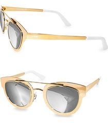 aqs women's 49mm jolene round metallic sunglasses