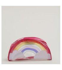 bolsa infantil transversal arco-íris rosa