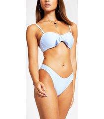 river island womens blue high leg bikini bottoms
