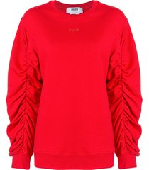 msgm ruched sleeve cotton sweatshirt - red