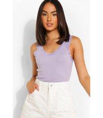 geribbeld hemdje met kanten zoom, lilac