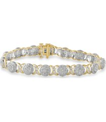 diamond cluster & baguette link bracelet (5 ct. t.w.) in 10k gold