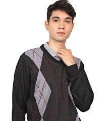 suéter polo wear tricot xadrez argyle preto/marrom - kanui