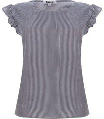 blusa lineas con arandelas color azul, talla l