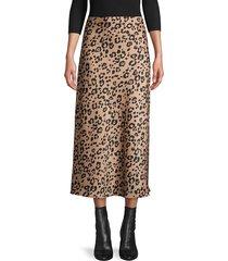 lucca women's jaguar print midi skirt - snake - size l