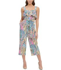 tommy hilfiger paisley-print double twill cropped jumpsuit