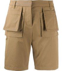 frankie morello multi-pocket textured shorts - brown