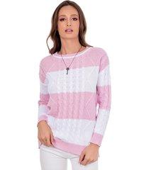 blusa myah carolina rosa trançada em tricô - kanui