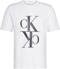 camiseta de algodón orgánico con monograma blanco calvin klein