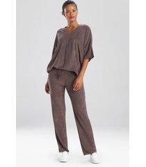 terry lounge top pajamas, women's, brown, size l, n natori