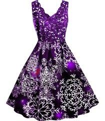 snowflake print scalloped collar christmas plus size dress