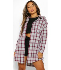 petite oversized frayed flannel shirt, burgundy