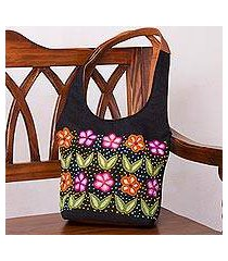 leather and wool accent jute shoulder bag, 'flowered love' (peru)