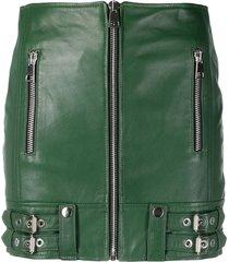 manokhi fitted moto skirt - green
