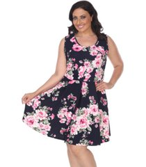 white mark women's plus size flower print crystal dress