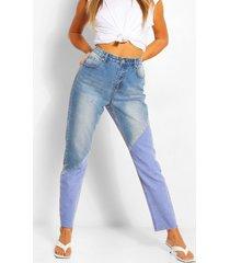 colourblocking mom jeans met hoge taille, middenblauw
