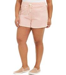 derek heart trendy plus size cotton colorblocked drawstring-waist shorts