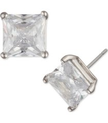 givenchy silver-tone princess-cut crystal stud earrings