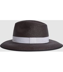 reiss ivy - woven hat in black, womens, size m/l